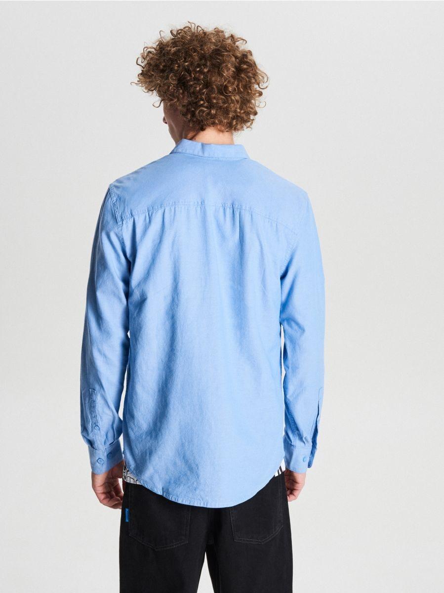 Gładka koszula basic - NIEBIESKI - WE363-50M - Cropp - 4