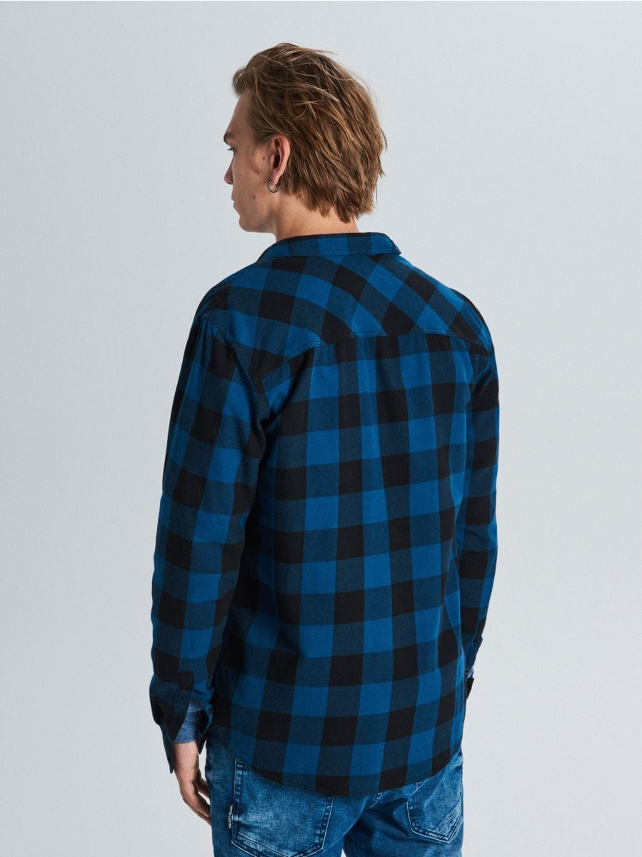 Koszula w kratę - GRANATOWY - WE365-59X - Cropp - 4