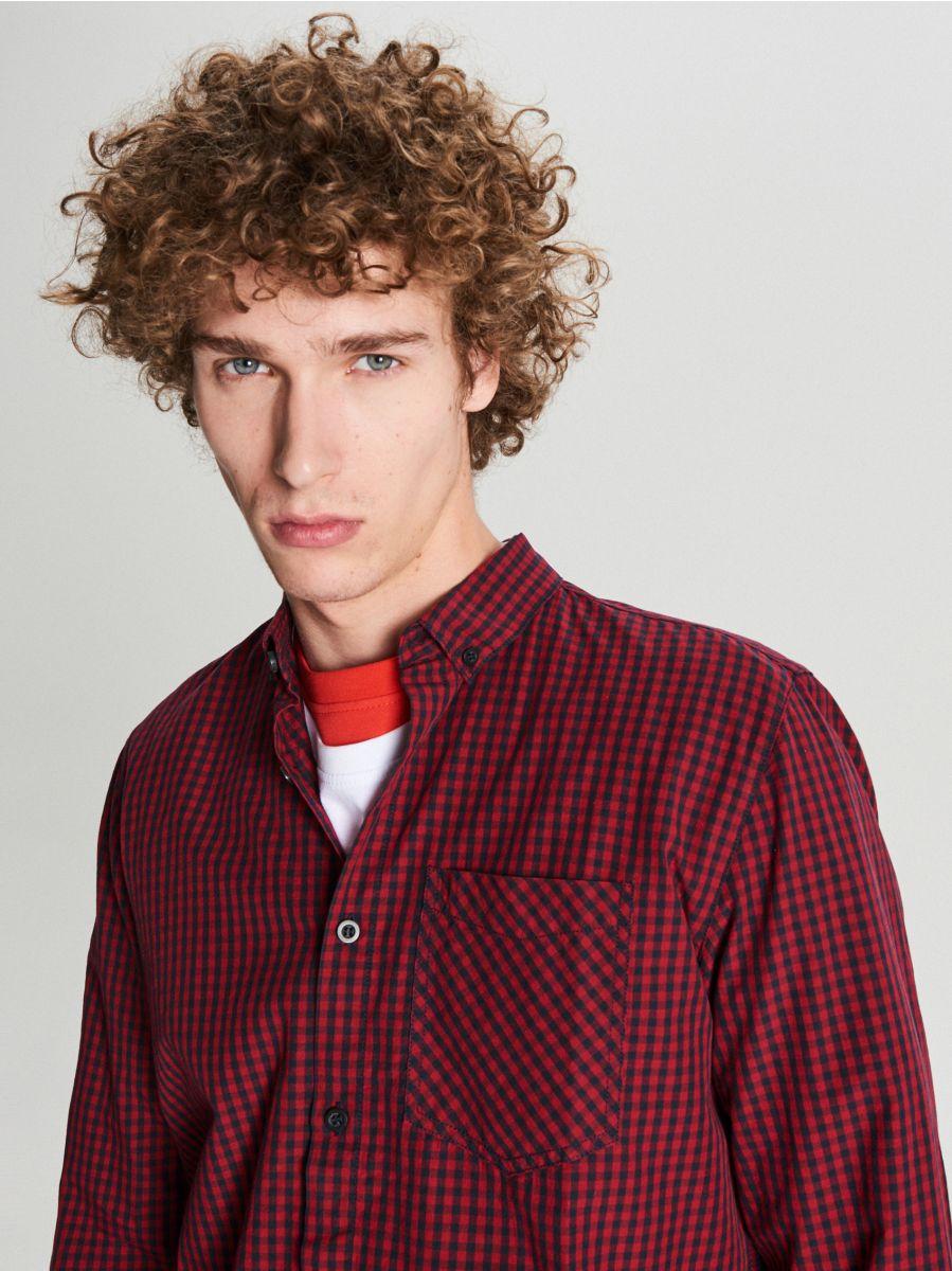 Koszula w drobną kratę - BORDOWY - WF525-83X - Cropp - 3
