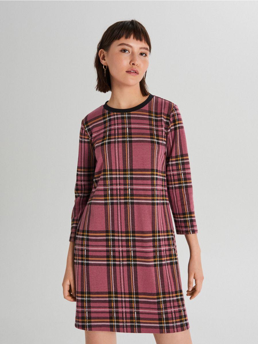 Sukienka w kratę - FIOLETOWY - WF670-34X - Cropp - 2