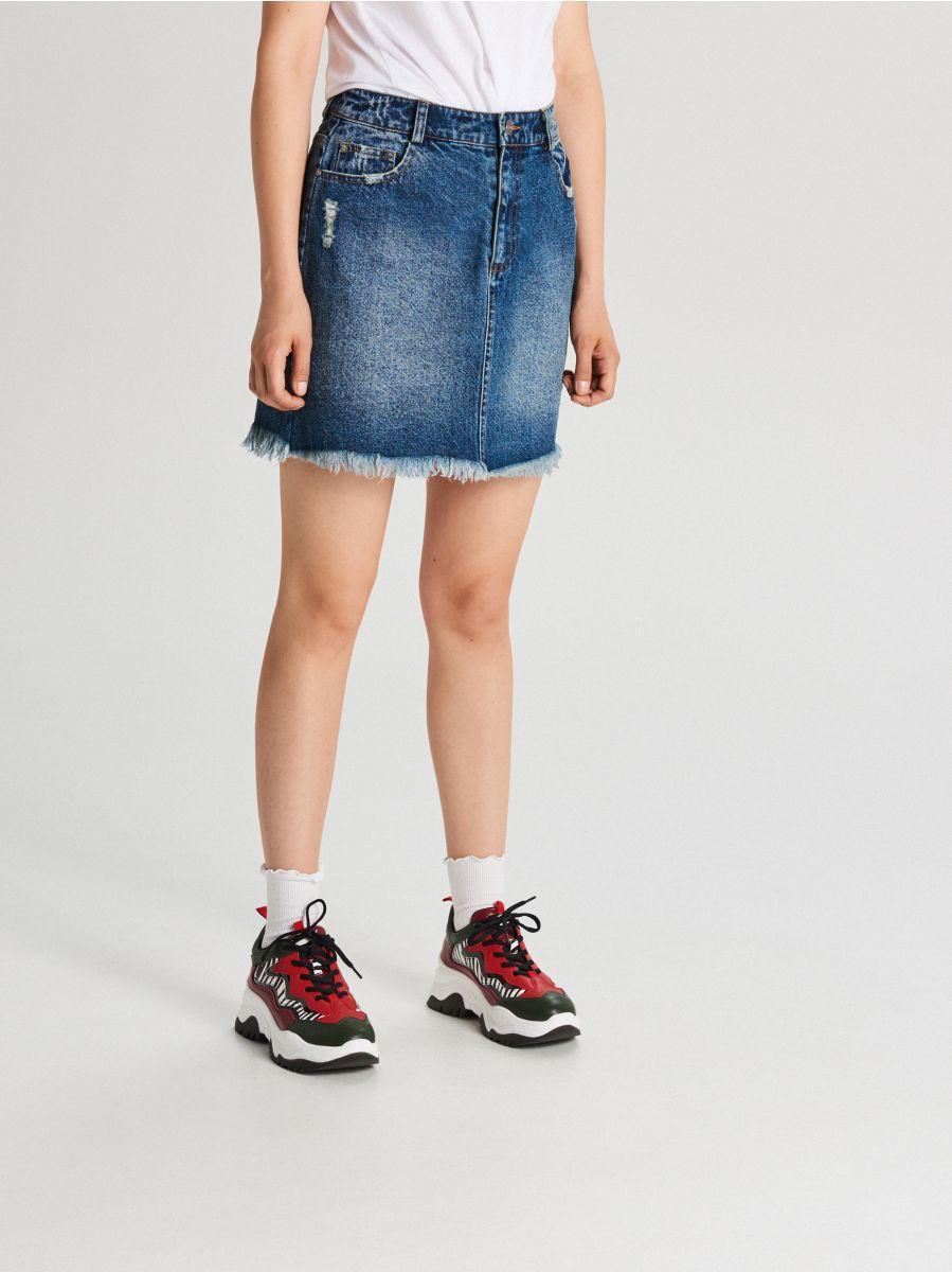 Jeansowa spódnica mini - NIEBIESKI - WF689-55J - Cropp - 3