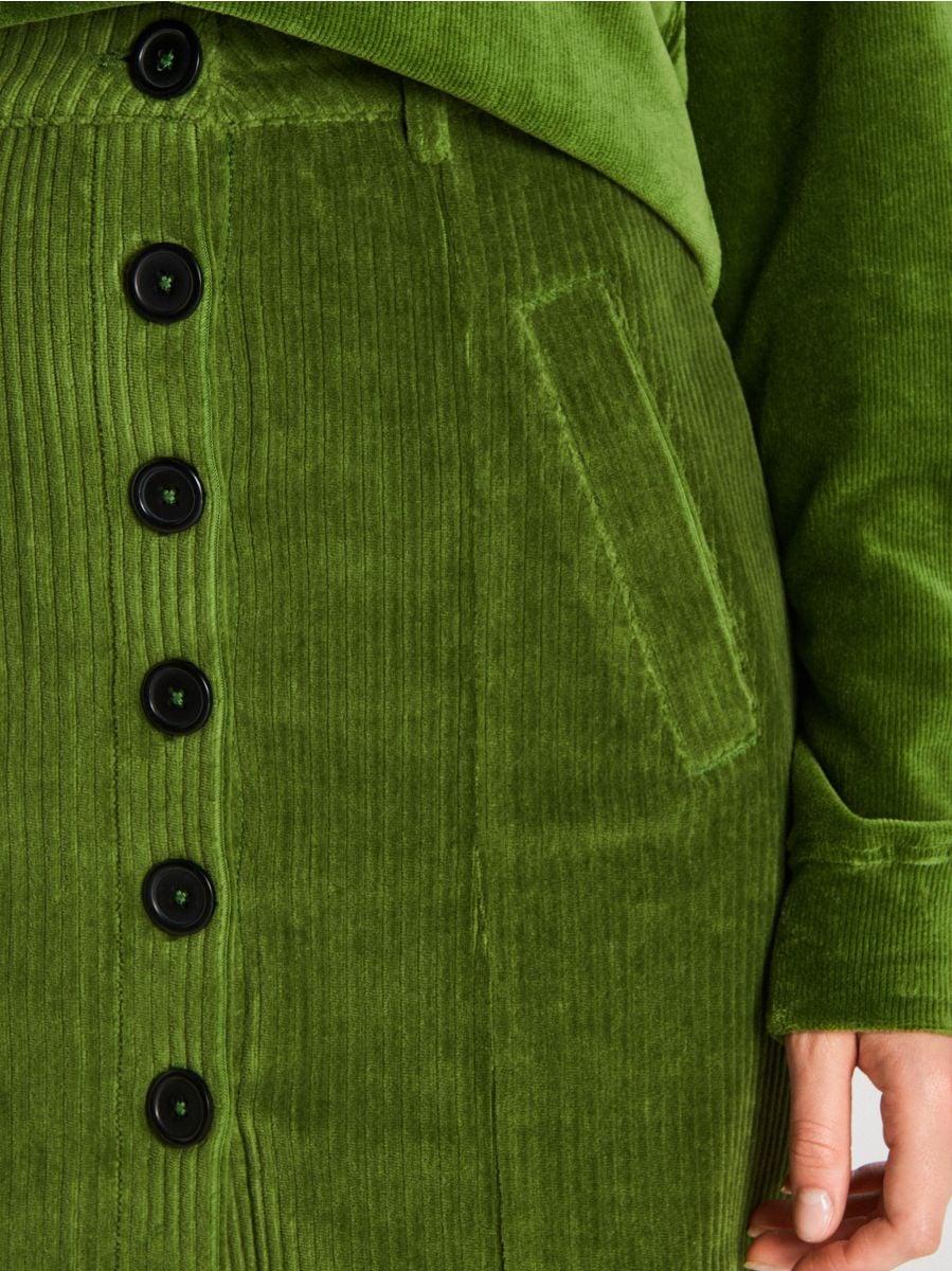 Sztruksowa spódnica mini z guzikami - KHAKI - WF691-79X - Cropp - 3