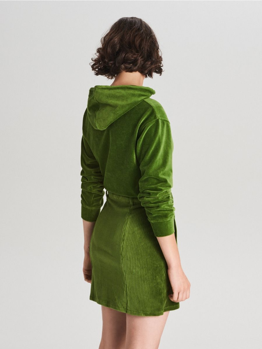 Sztruksowa spódnica mini z guzikami - KHAKI - WF691-79X - Cropp - 4