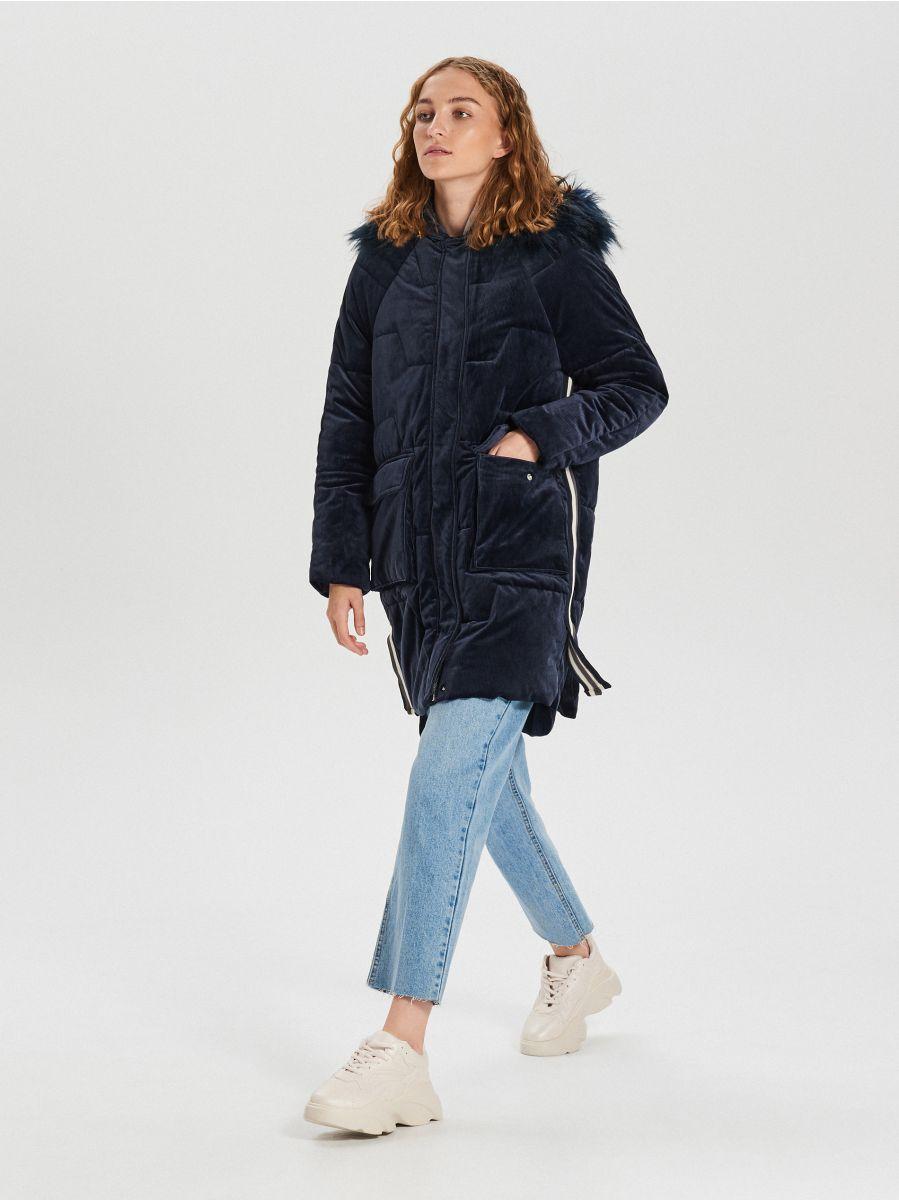 Ciepły płaszcz z kapturem - GRANATOWY - WG316-59X - Cropp - 5