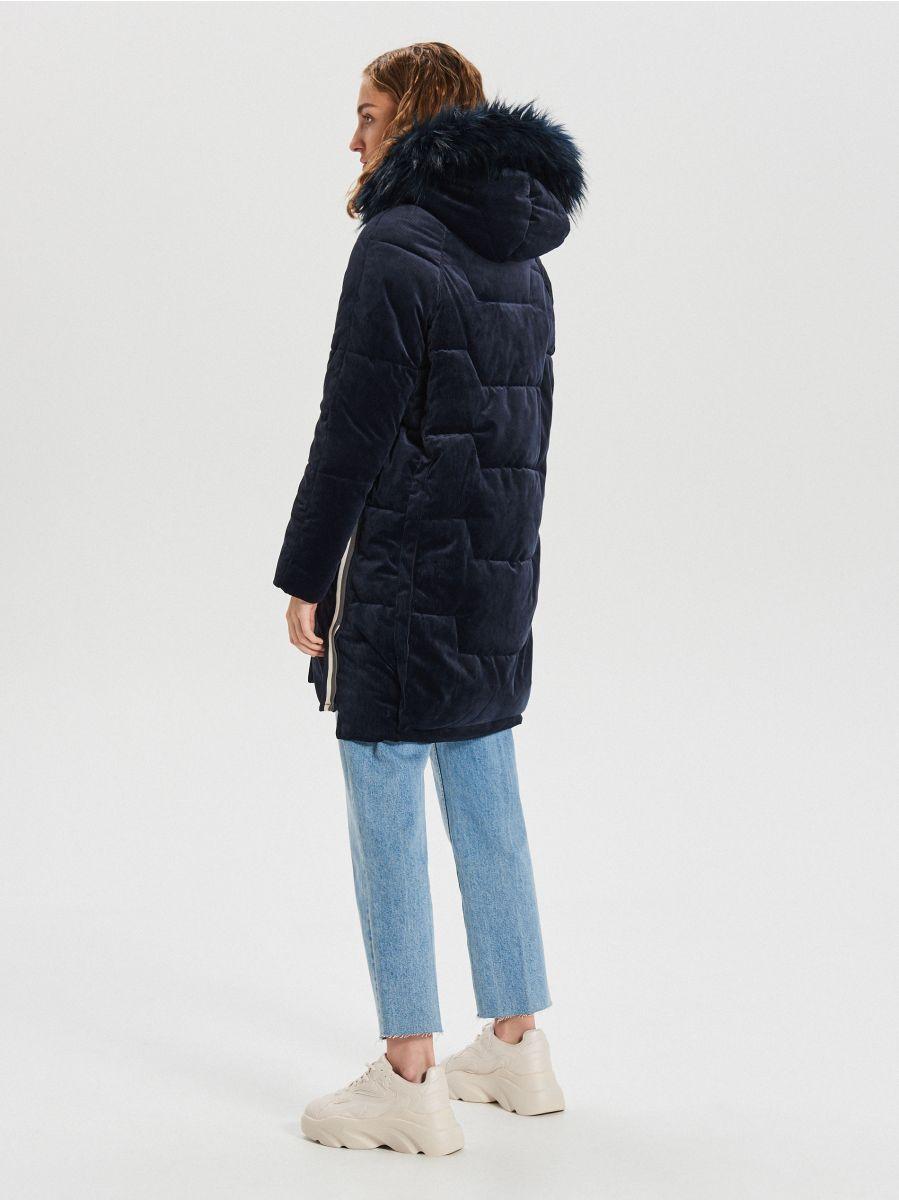 Ciepły płaszcz z kapturem - GRANATOWY - WG316-59X - Cropp - 7