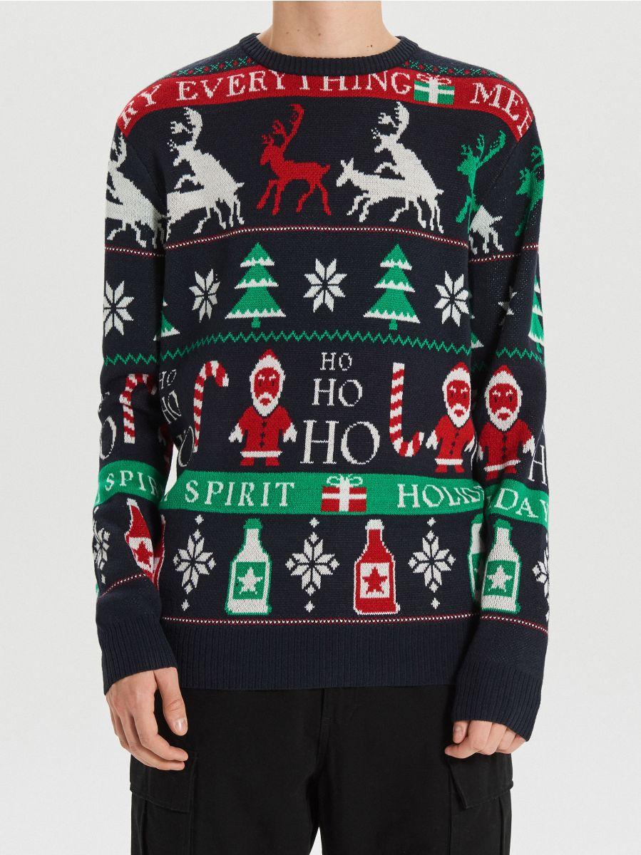 Sweter z motywem zimowym - GRANATOWY - WG373-59X - Cropp - 4
