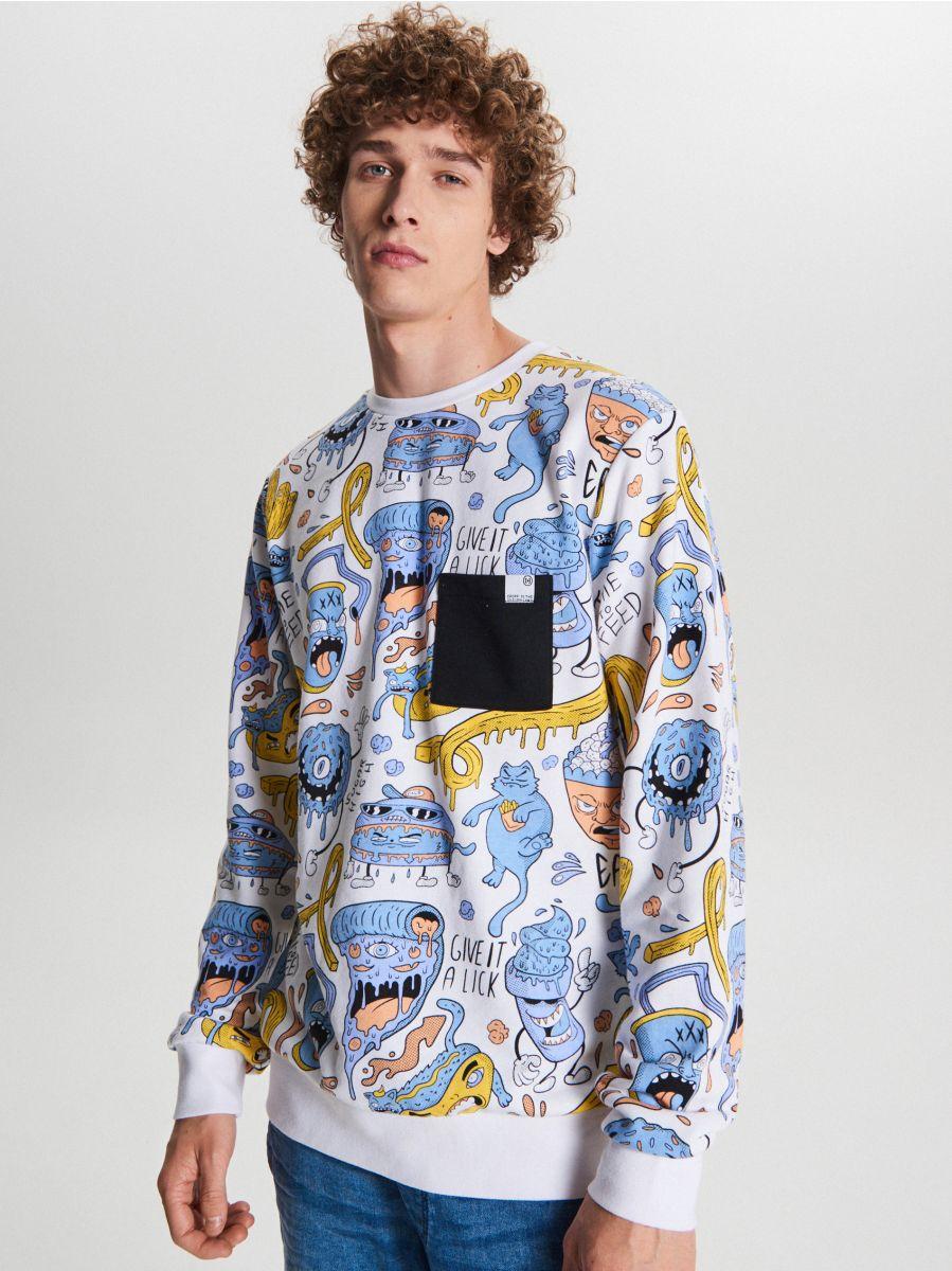 Bluza z grafiką all over - BIAŁY - WH102-00X - Cropp - 2