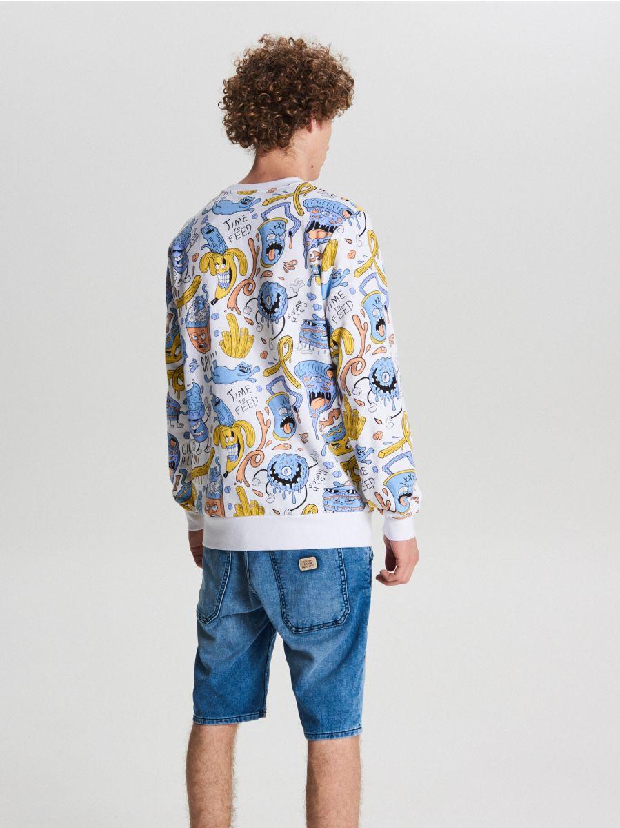 Bluza z grafiką all over - BIAŁY - WH102-00X - Cropp - 4