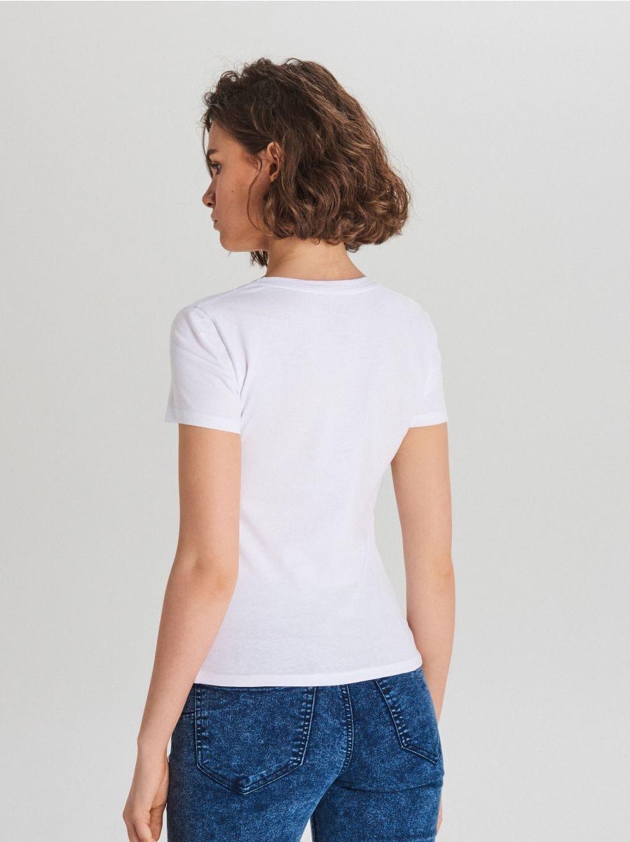 Gładka koszulka V neck - BIAŁY - WH168-00X - Cropp - 3