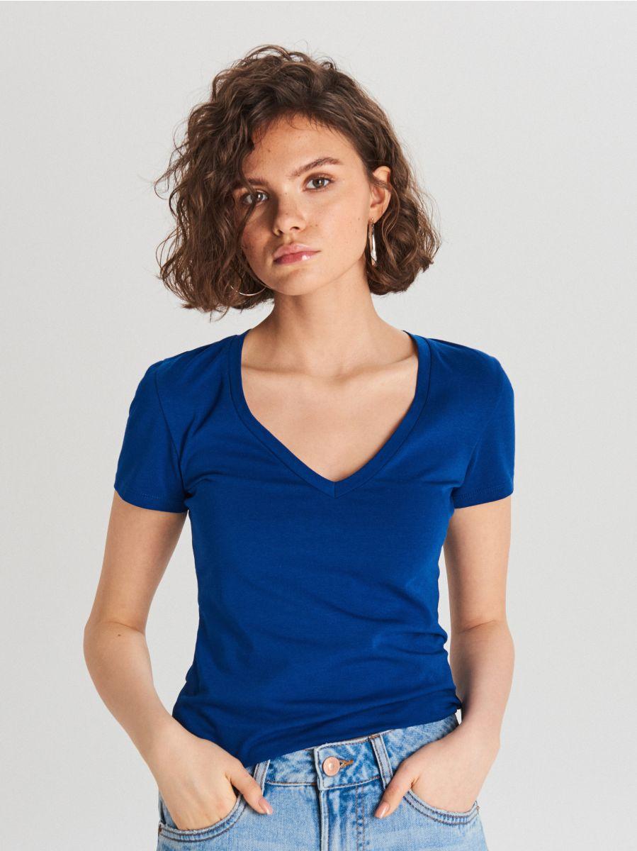 Gładka koszulka V neck - NIEBIESKI - WH168-57X - Cropp - 1