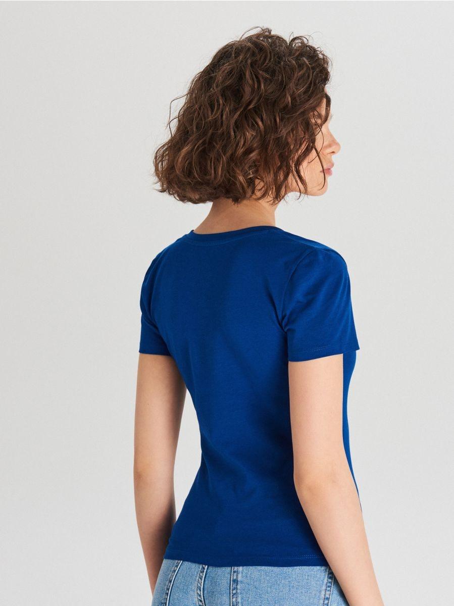Gładka koszulka V neck - NIEBIESKI - WH168-57X - Cropp - 4