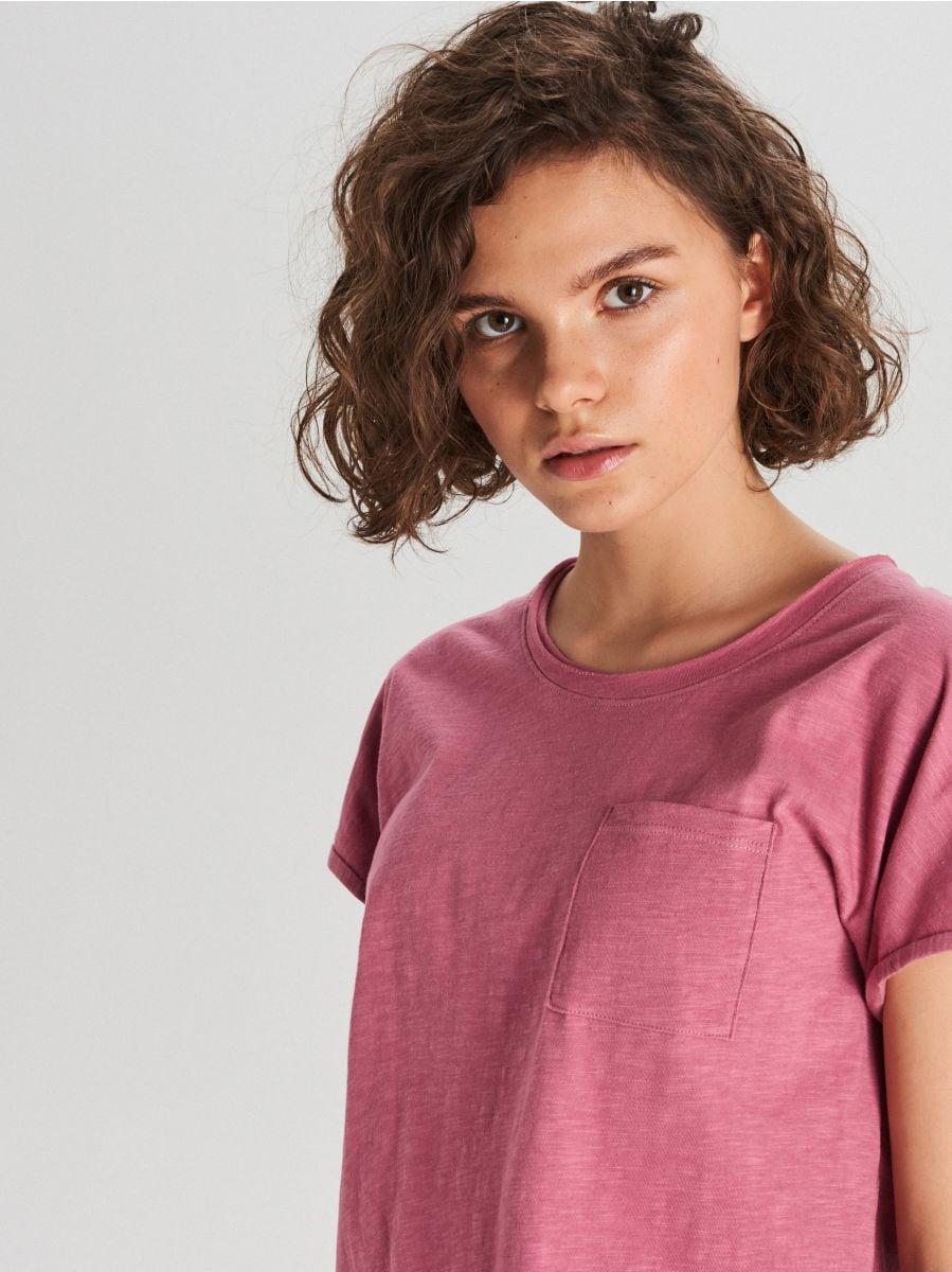 Koszulka z kieszenią - RÓŻOWY - WH173-40X - Cropp - 2