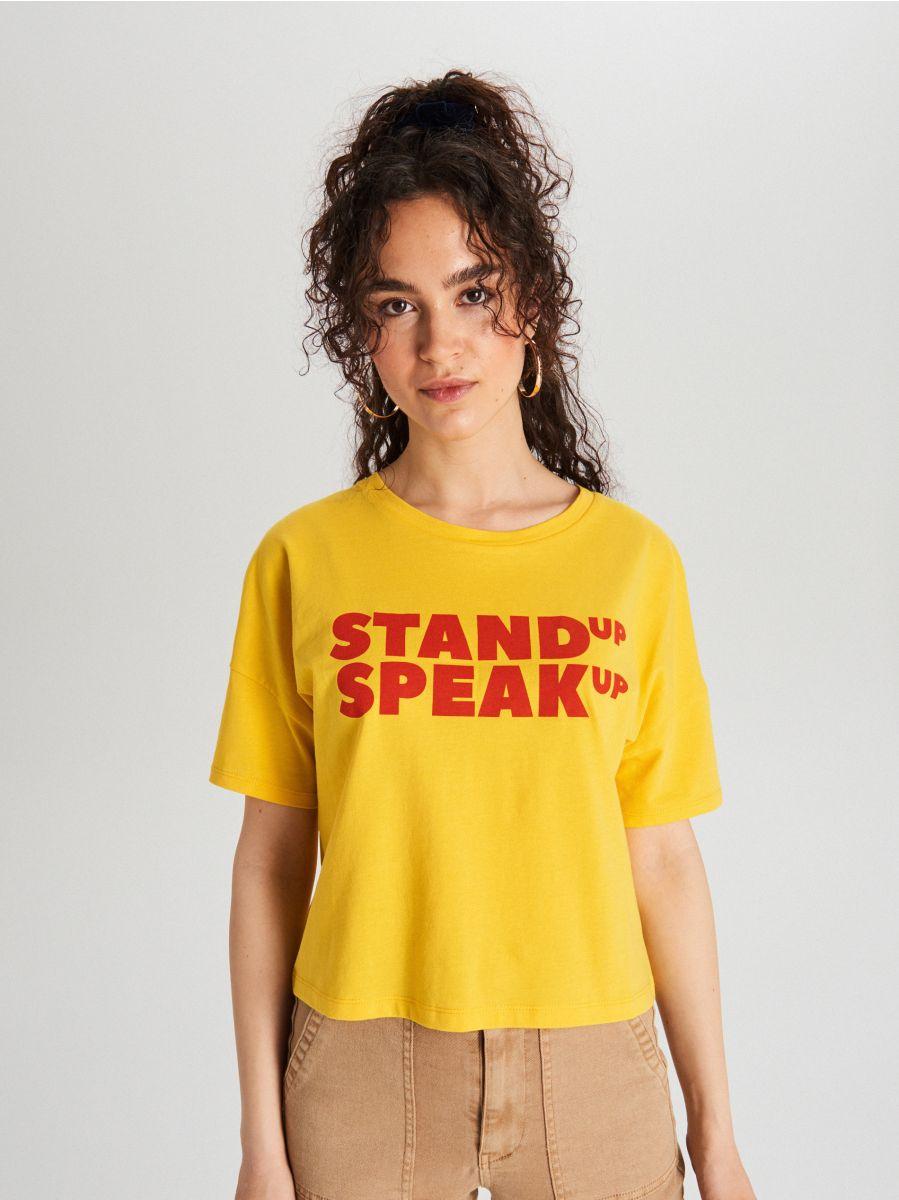 Koszulka z napisem - ŻÓŁTY - WH178-17X - Cropp - 2