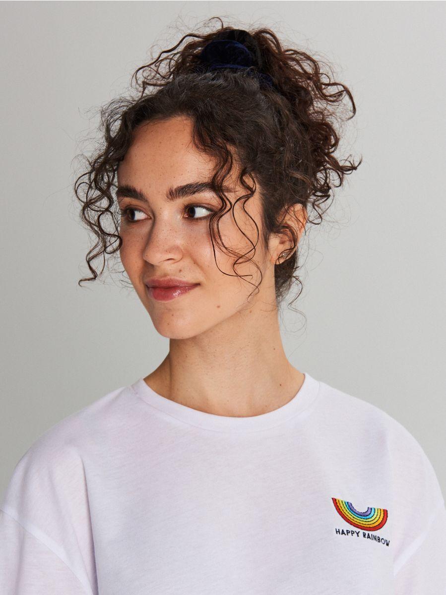 Koszulka z napisem - BIAŁY - WH183-00X - Cropp - 2