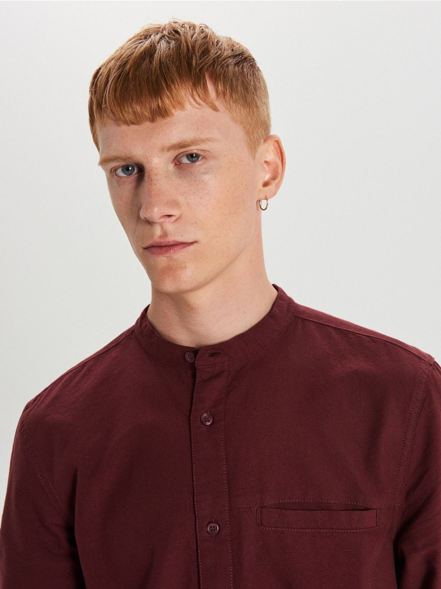Gładka koszula o kroju slim - BORDOWY - WI222-83X - Cropp - 3