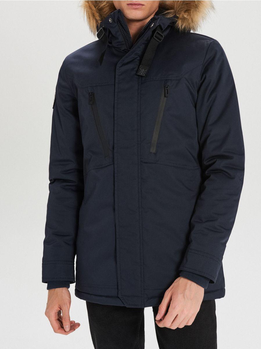 Ciepły płaszcz  - GRANATOWY - WM617-59X - Cropp - 4
