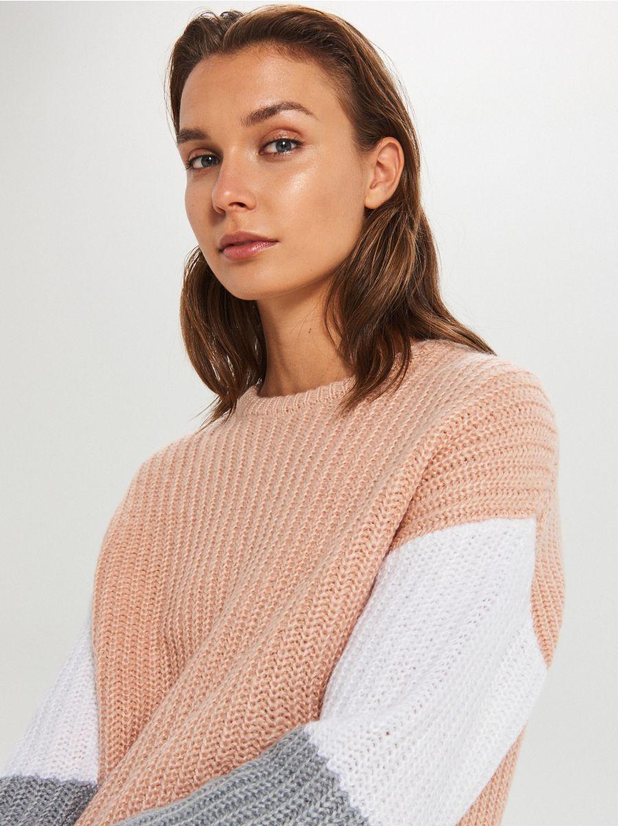 Kolorowy sweter - JASNY SZARY - WM681-09X - Cropp - 3