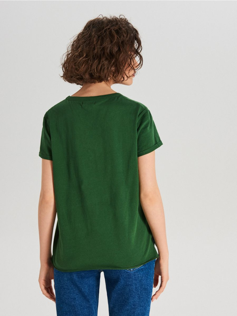 Koszulka basic - KHAKI - WS802-79X - Cropp - 3