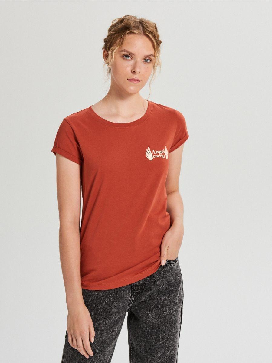 Koszulka z napisem - BORDOWY - WS816-83X - Cropp - 1