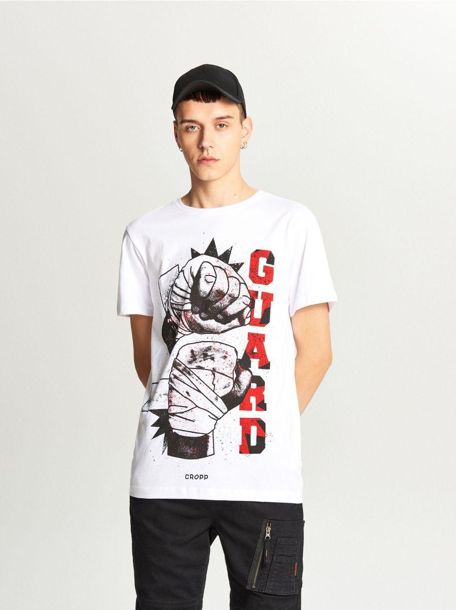 Koszulka z nadrukiem - BIAŁY - WY337-00X - Cropp - 2