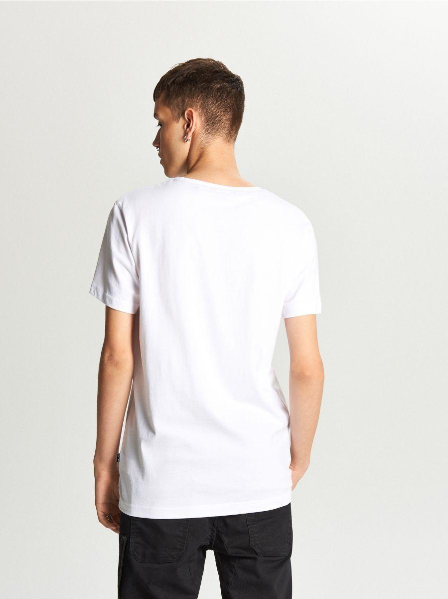 Koszulka z nadrukiem - BIAŁY - WY337-00X - Cropp - 3