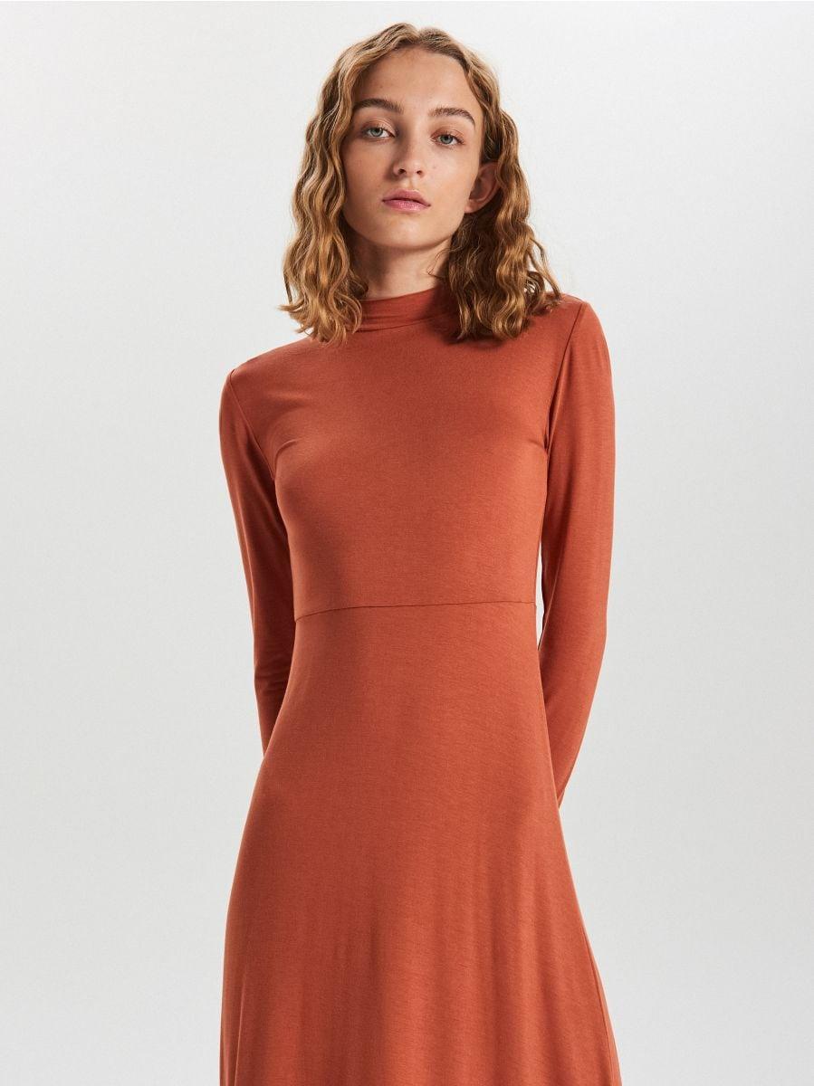 Asymetryczna sukienka midi - BORDOWY - WY842-92X - Cropp - 3