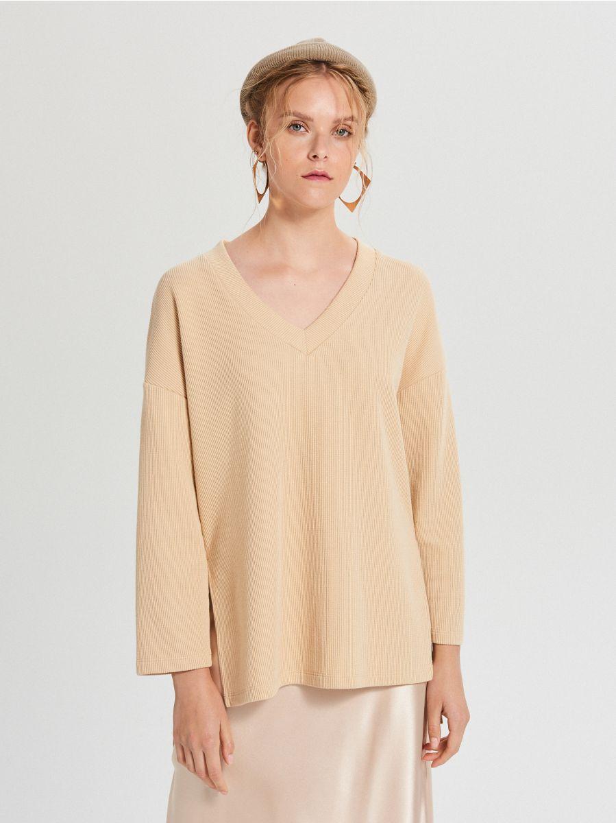 Bluzka oversize z rozszerzanymi rękawami - BEŻOWY - XD383-12X - Cropp - 2