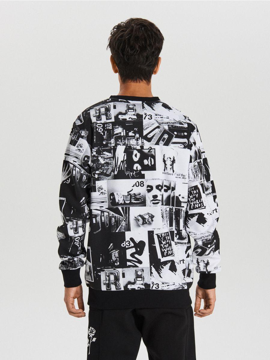 Bluza z nadrukiem all over - BIAŁY - XG620-00X - Cropp - 4