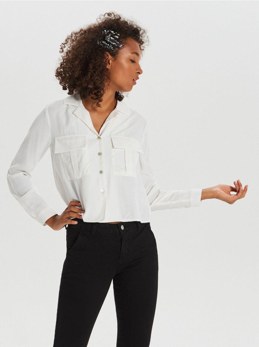 Koszula z kieszeniami - KREMOWY - XI755-01X - Cropp - 2