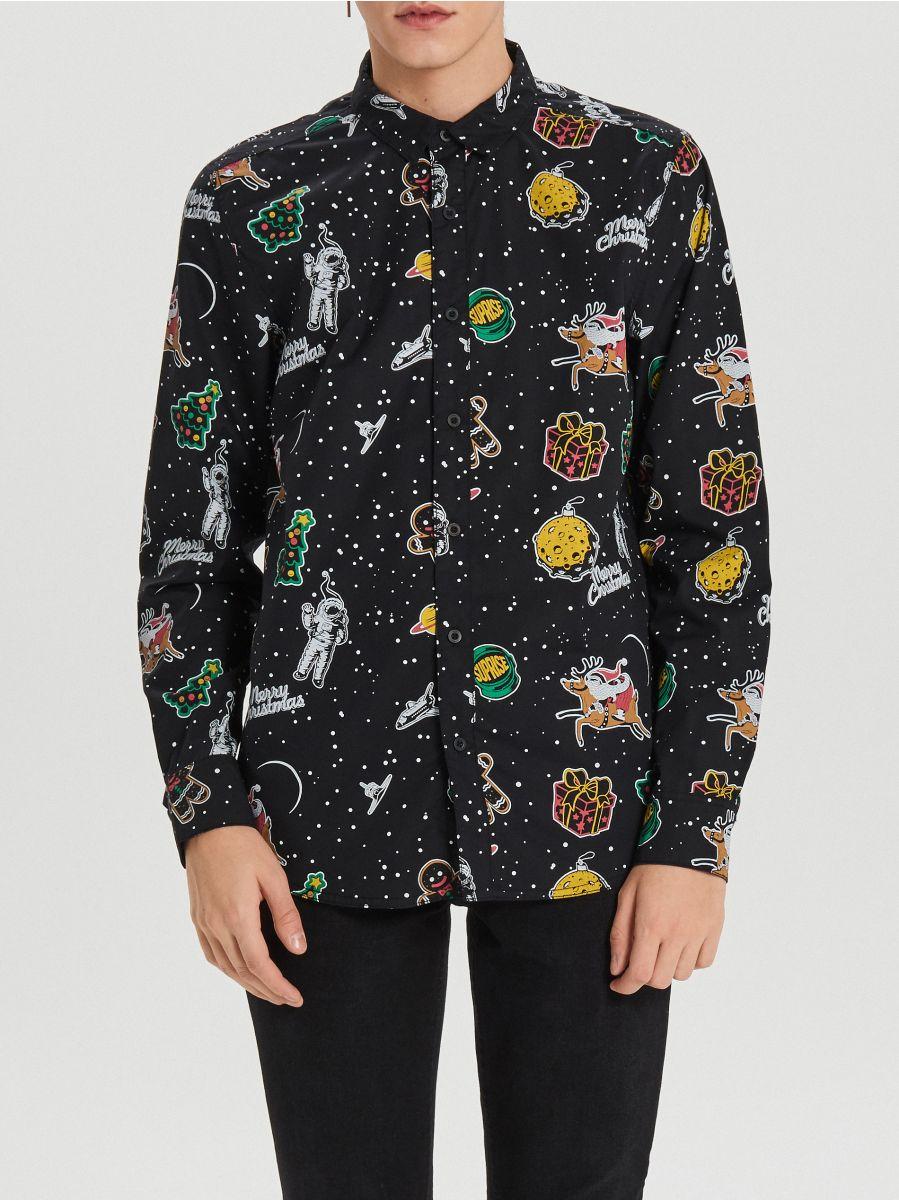 Świąteczna koszula all over - CZARNY - XK012-99X - Cropp - 4