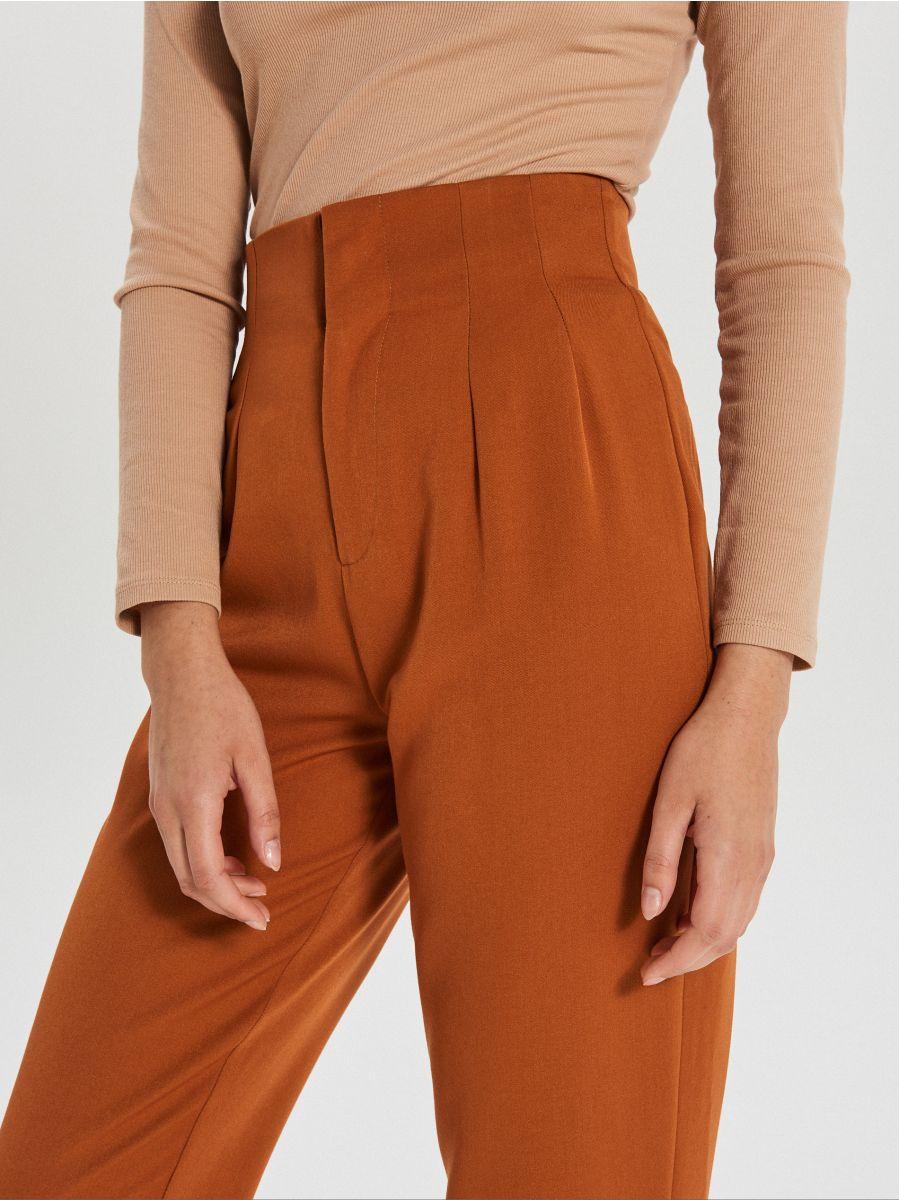 Materiałowe spodnie high waist - BRĄZOWY - XK974-88X - Cropp - 3