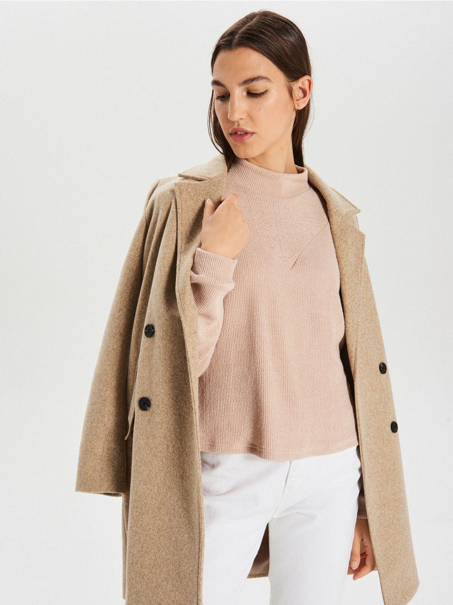 Bluza z półgolfem - KREMOWY - XL212-02X - Cropp - 1