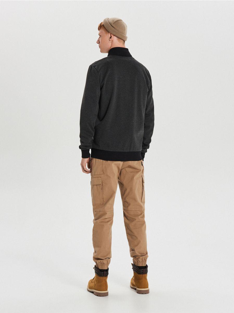 Rozpinana bluza z haftem - CZARNY - XS660-99X - Cropp - 5