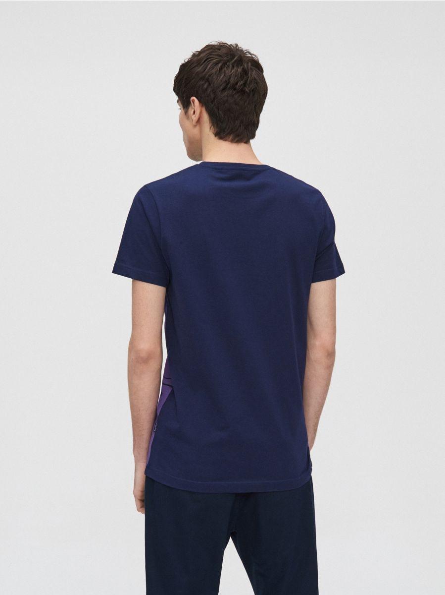 Koszulka z ilustracją - GRANATOWY - XZ377-59X - Cropp - 4