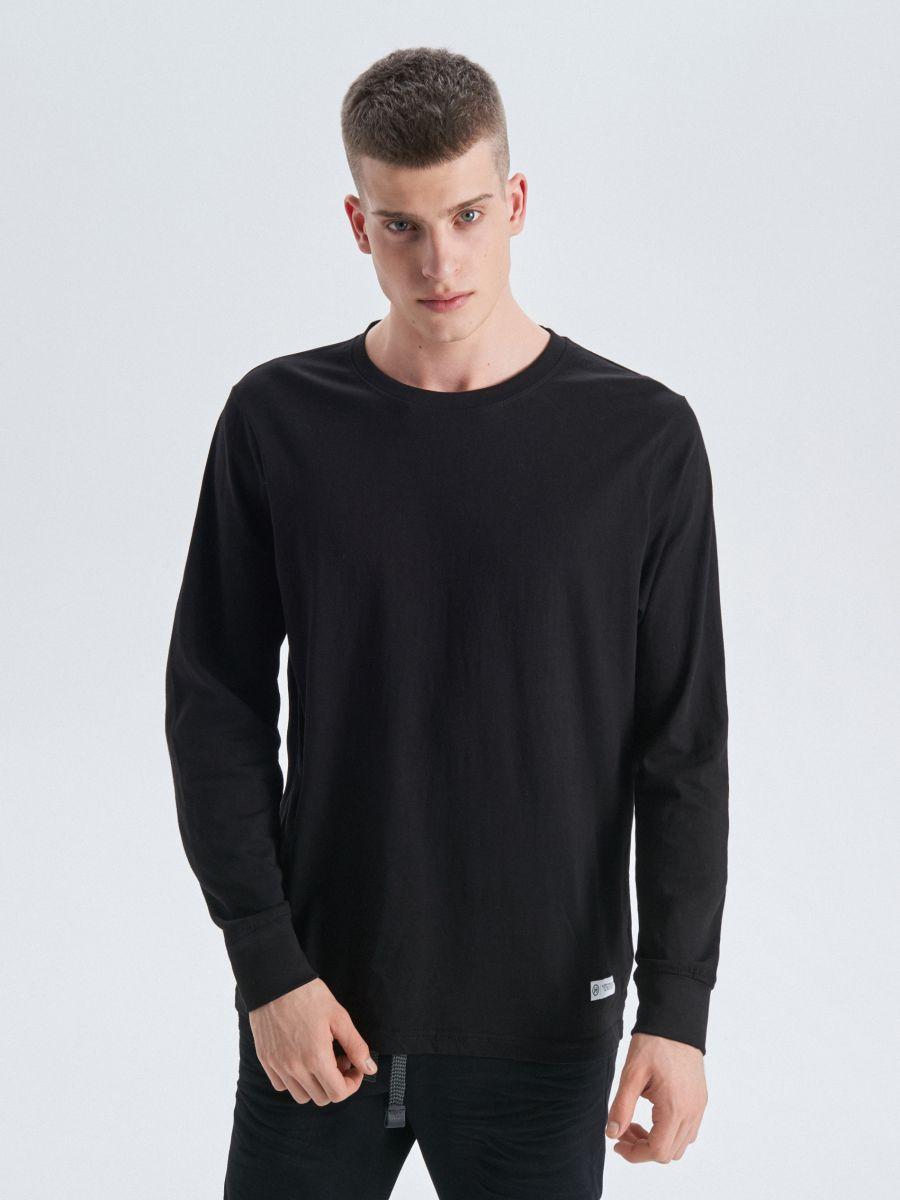 Koszulka basic z długimi rękawami - CZARNY - UY334-99X - Cropp - 1