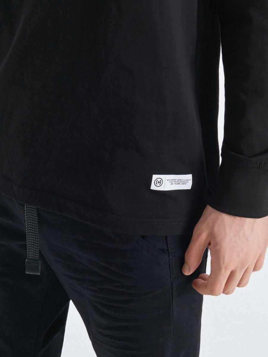 Koszulka basic z długimi rękawami - CZARNY - UY334-99X - Cropp - 3