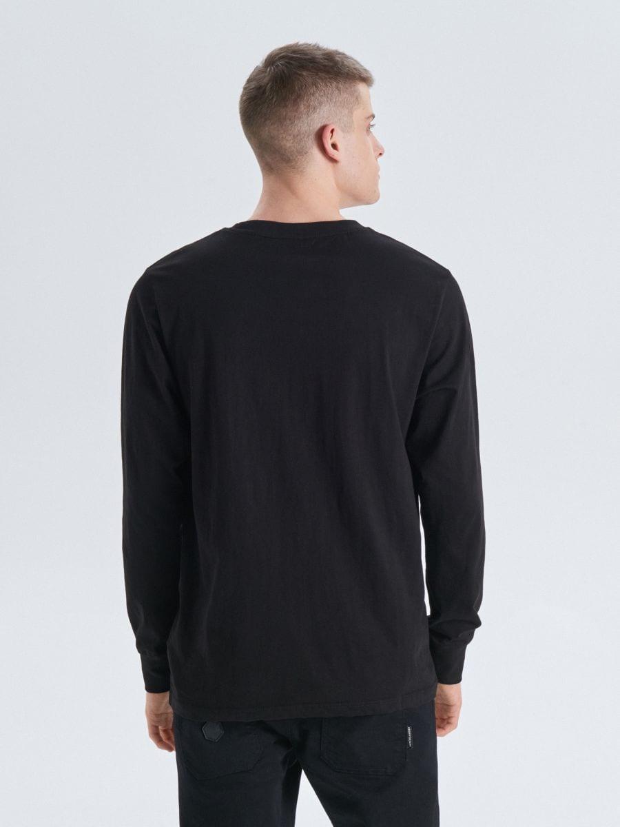 Koszulka basic z długimi rękawami - CZARNY - UY334-99X - Cropp - 4