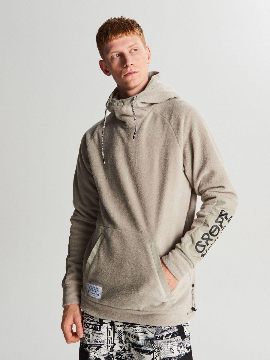 Polarowa bluza z kapturem - KREMOWY - WA077-01X - Cropp - 1