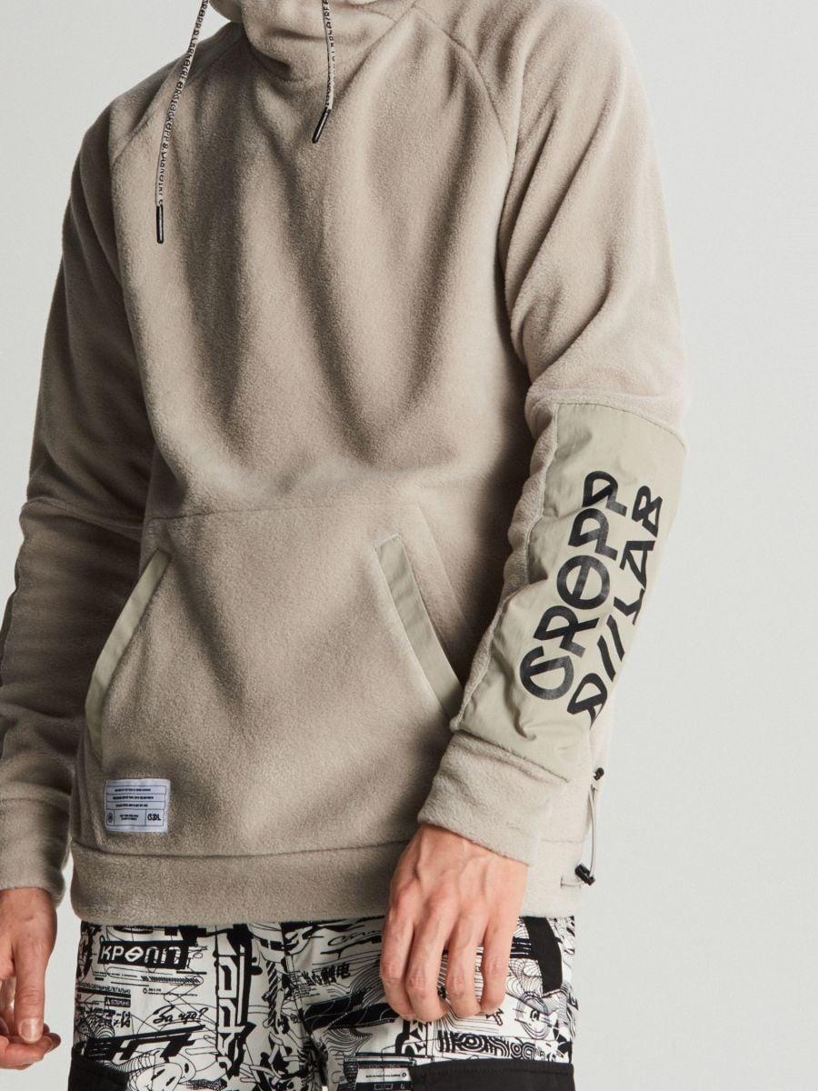 Polarowa bluza z kapturem - KREMOWY - WA077-01X - Cropp - 3