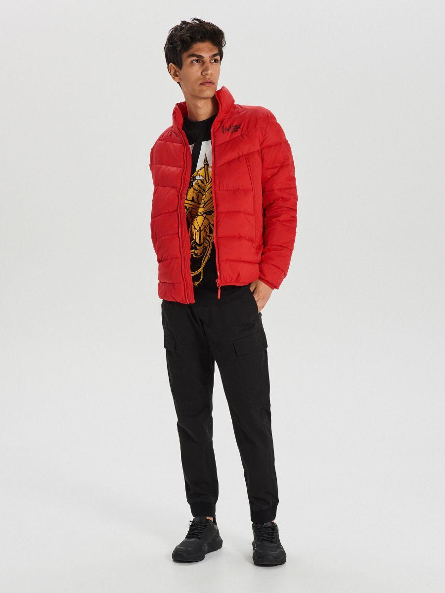 Pikowana kurtka na zimę - CZERWONY - WA079-33X - Cropp - 2