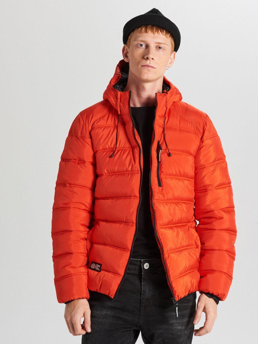 Pikowana kurtka z kapturem - POMARAŃCZOWY - WA088-22X - Cropp - 1