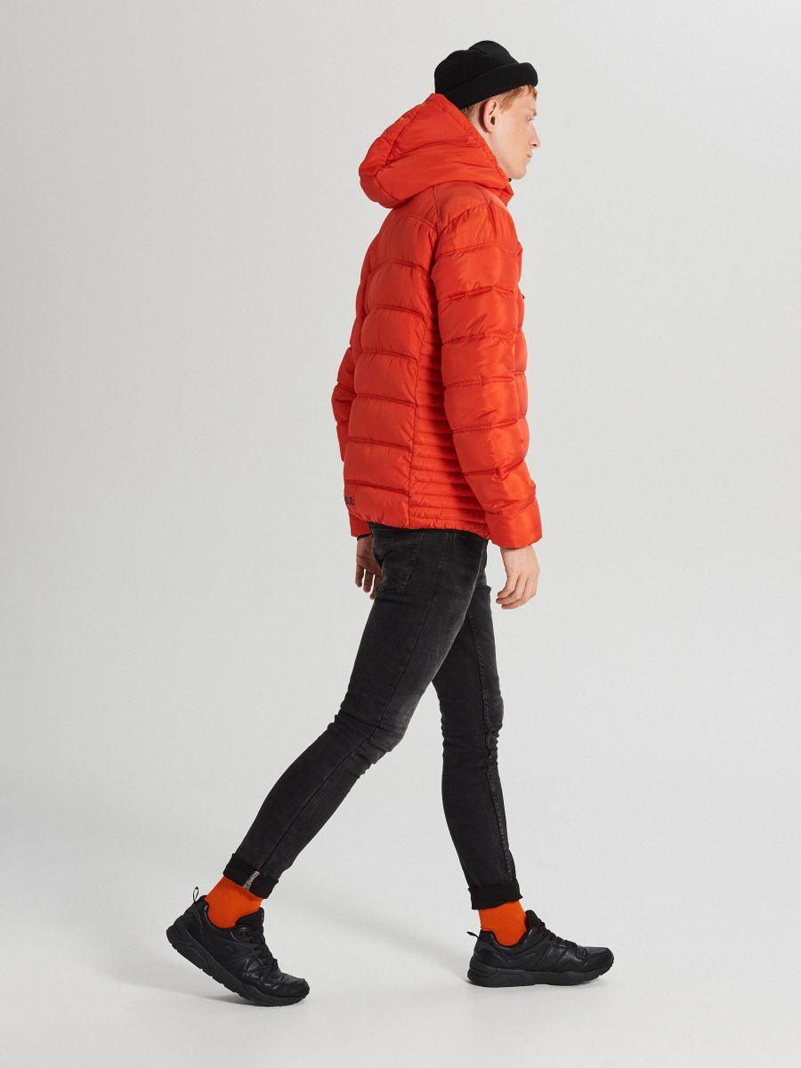 Pikowana kurtka z kapturem - POMARAŃCZOWY - WA088-22X - Cropp - 4
