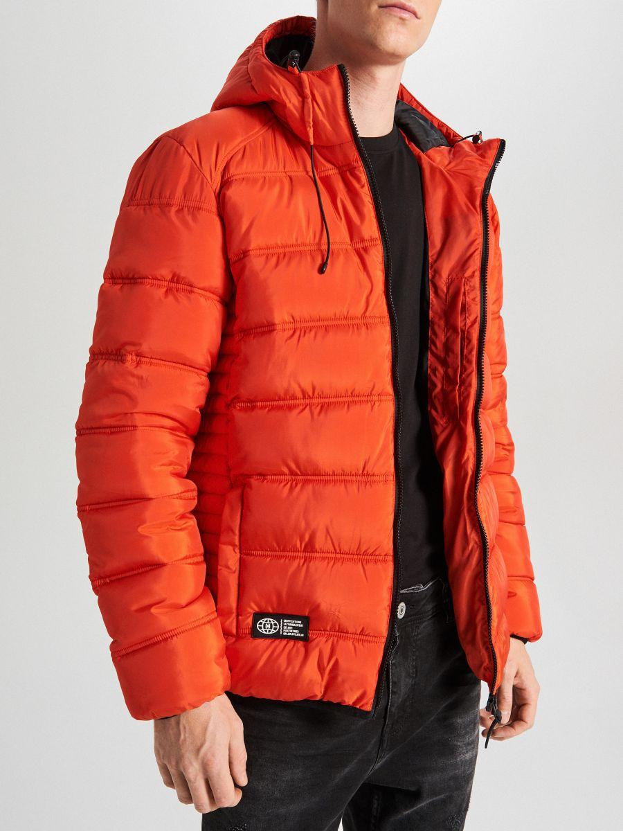 Pikowana kurtka z kapturem - POMARAŃCZOWY - WA088-22X - Cropp - 7