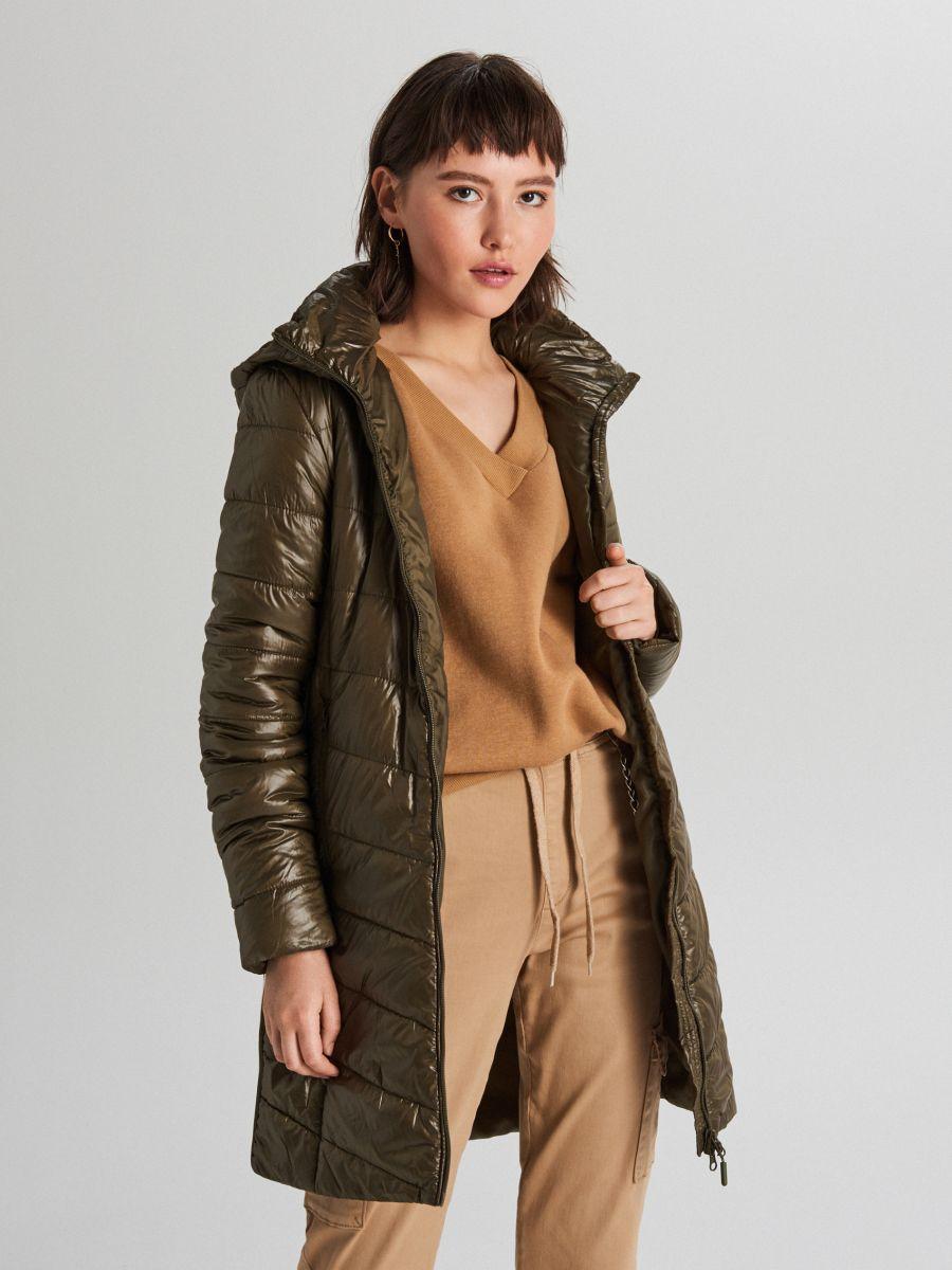 Pikowana kurtka z kapturem - KHAKI - WB875-78X - Cropp - 3