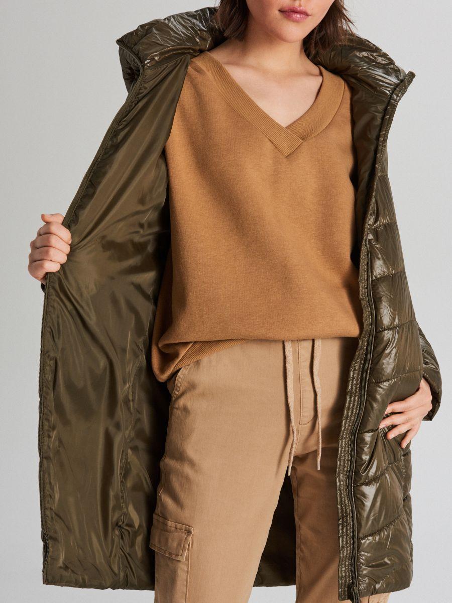 Pikowana kurtka z kapturem - KHAKI - WB875-78X - Cropp - 6