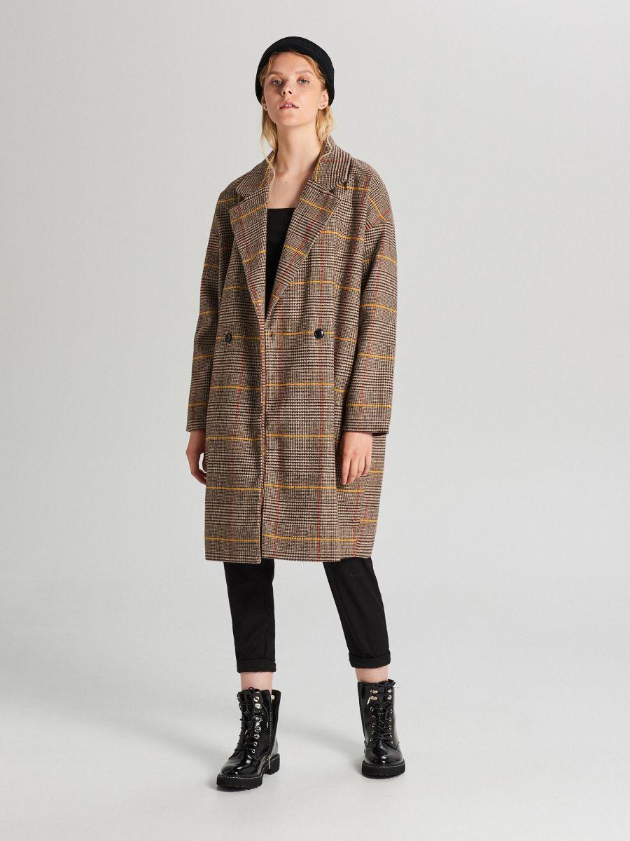 Płaszcz oversize w kratę - BEŻOWY - WB877-80X - Cropp - 1