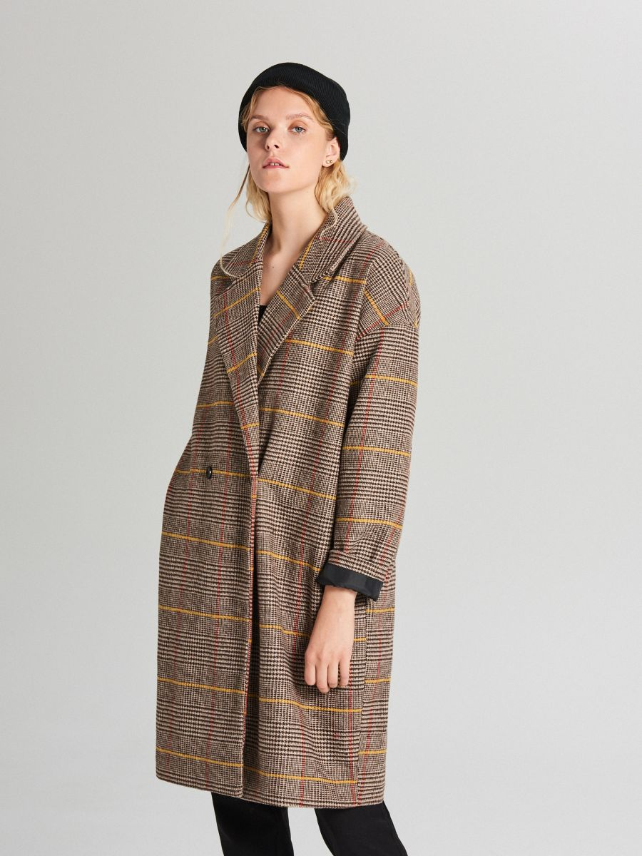 Płaszcz oversize w kratę - BEŻOWY - WB877-80X - Cropp - 2