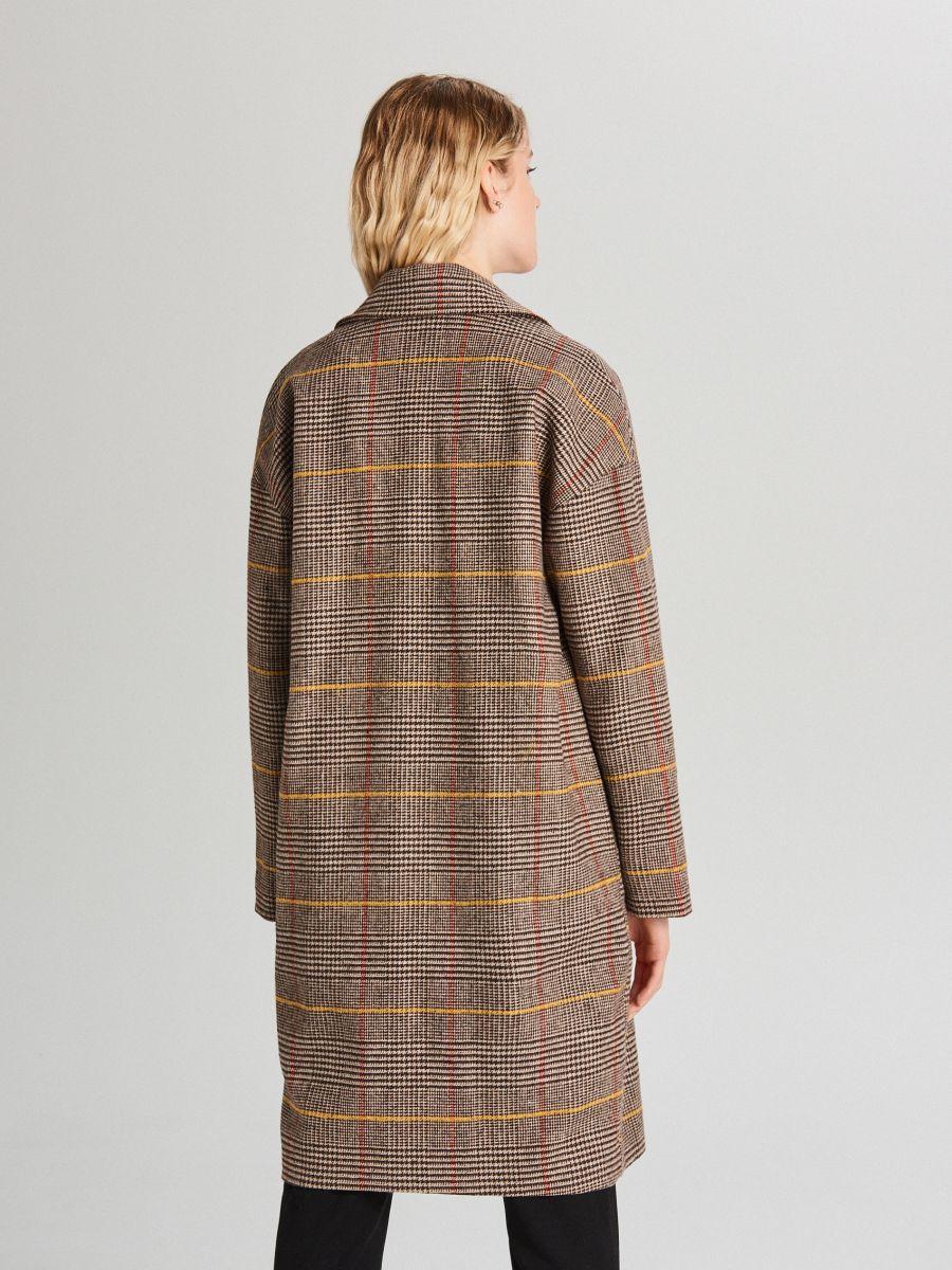 Płaszcz oversize w kratę - BEŻOWY - WB877-80X - Cropp - 4