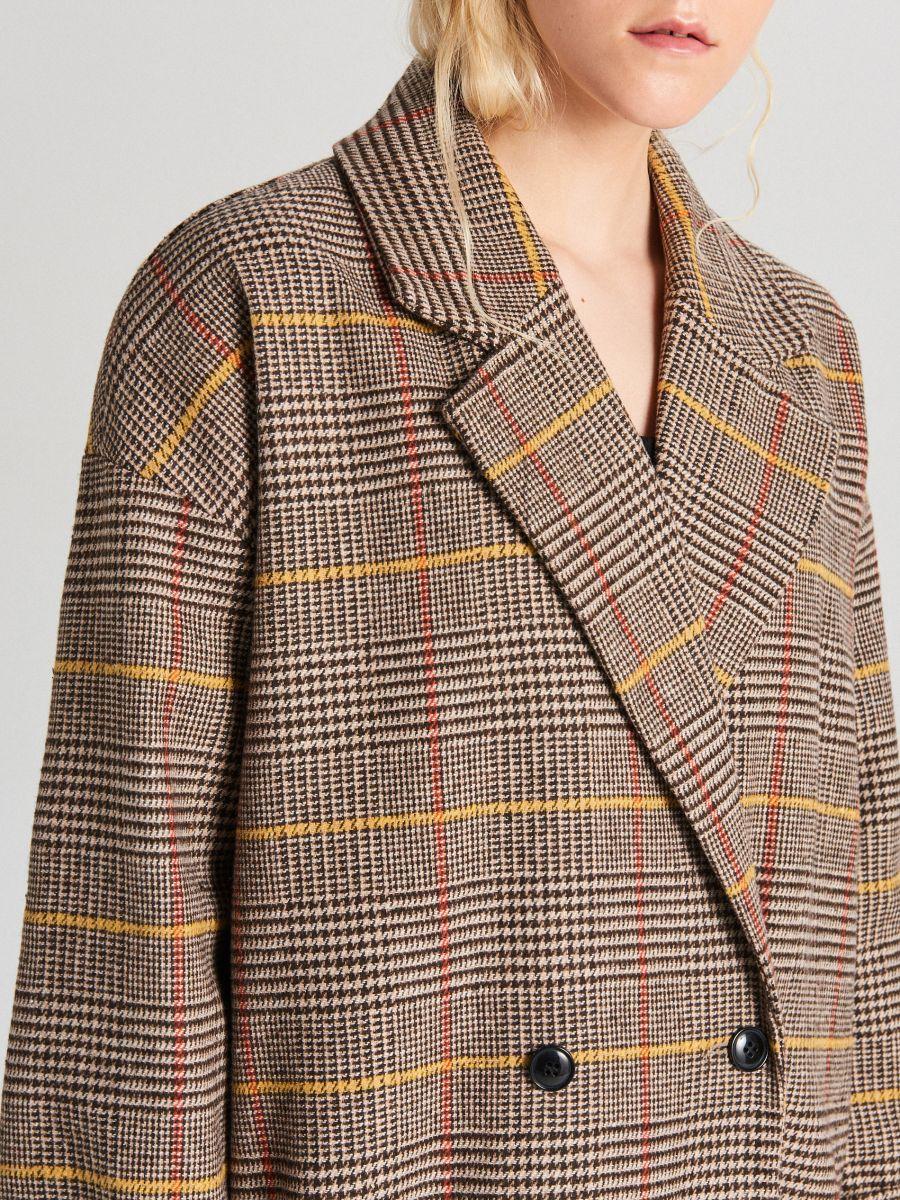 Płaszcz oversize w kratę - BEŻOWY - WB877-80X - Cropp - 5