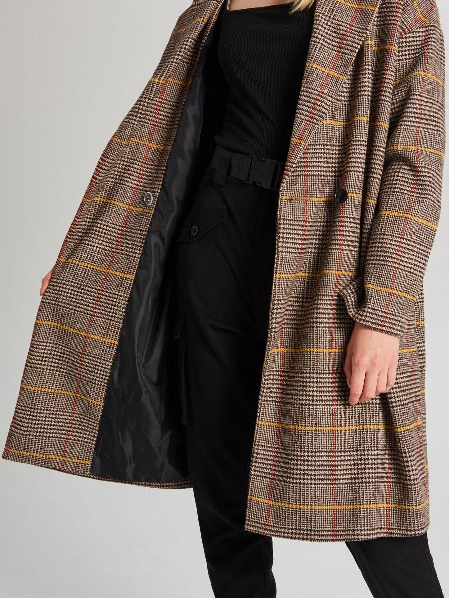 Płaszcz oversize w kratę - BEŻOWY - WB877-80X - Cropp - 6